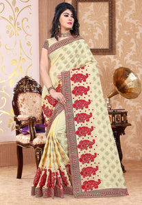 Cream Georgette Embroidered Saree with Unstitched Blouse - Raspberry Blush