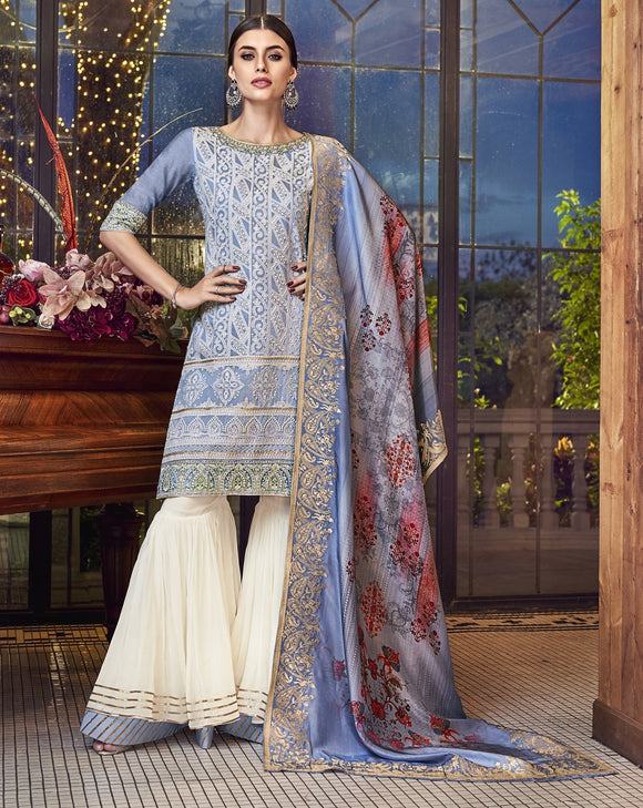 Blue Embroidered Printed Soft Silk Designer Suit (Semi-Stitched) - Raspberry Blush