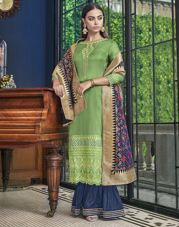 Green Blue Embroidered Satin Silk Palazzo Salwar Kameez Suit (Semi-Stitched) - Raspberry Blush