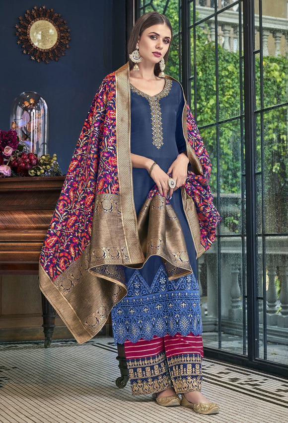 Blue Embroidered Satin Silk Palazzo Salwar Kameez Suit (Semi-Stitched) - Raspberry Blush