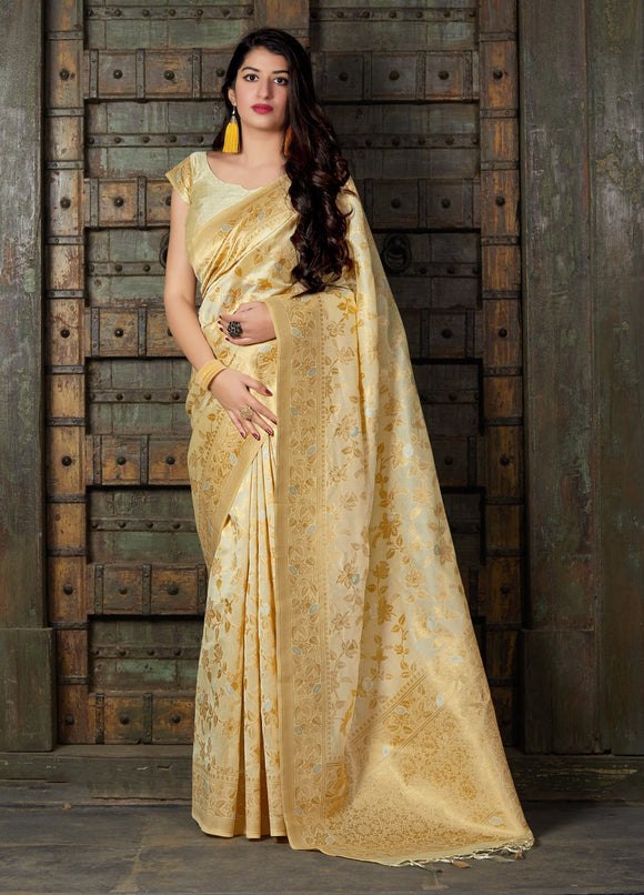 Cream Weaved Banarasi Art Silk Designer Saree & Unstitched Blouse