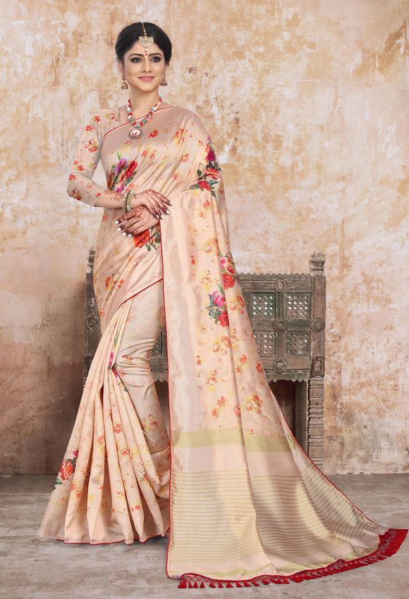 Beige Printed Art Silk Saree & Unstitched Blouse