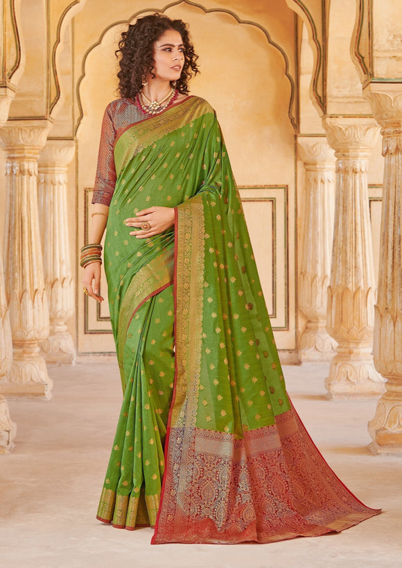 Green Weaved Handloom Silk Saree & Unstitched Blouse