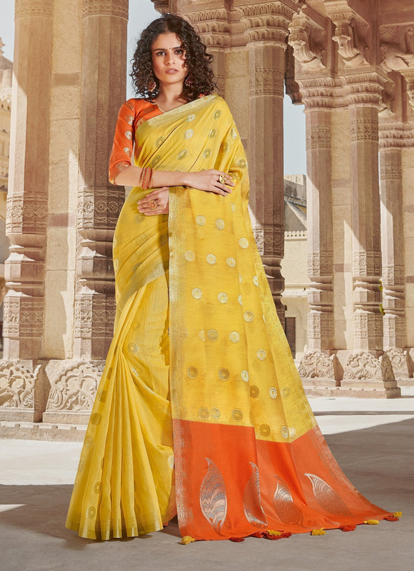 Yellow Weaved Linen Cotton Saree & Unstitched Blouse