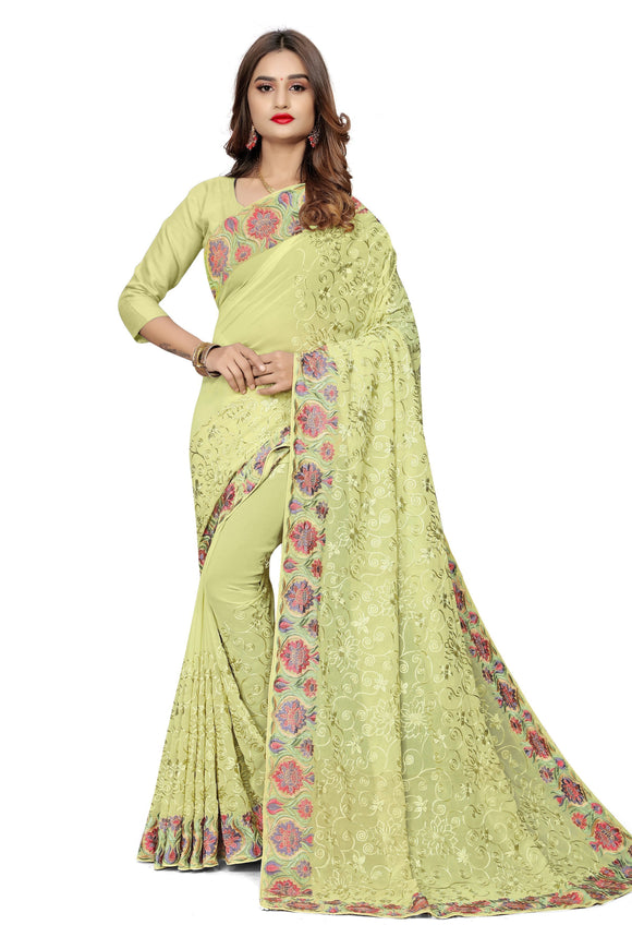 Pastel Green Embroidered Georgette Saree & Unstitched Blouse