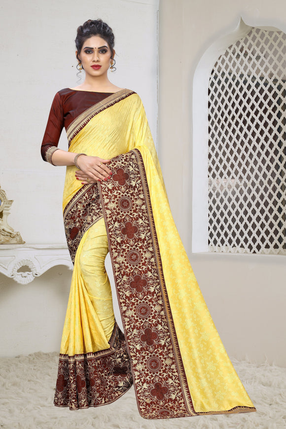 Yellow Zari Embroidered Stones Work Jacquard Silk Saree & Unstitched Blouse