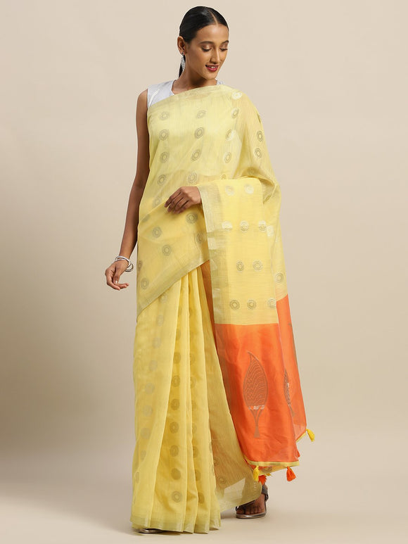 Yellow Woven Linen Cotton Saree & Unstitched Blouse - Raspberry Blush