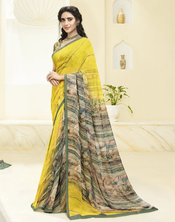 Yellow Printed Georgette Saree & Unstitched Blouse - Raspberry Blush