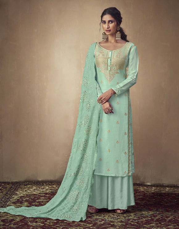 Aqua Thread Embroidered Sequins Work Banarasi Jacquard Pakistani Salwar Kameez Straight Suit (Unstitched) - Raspberry Blush