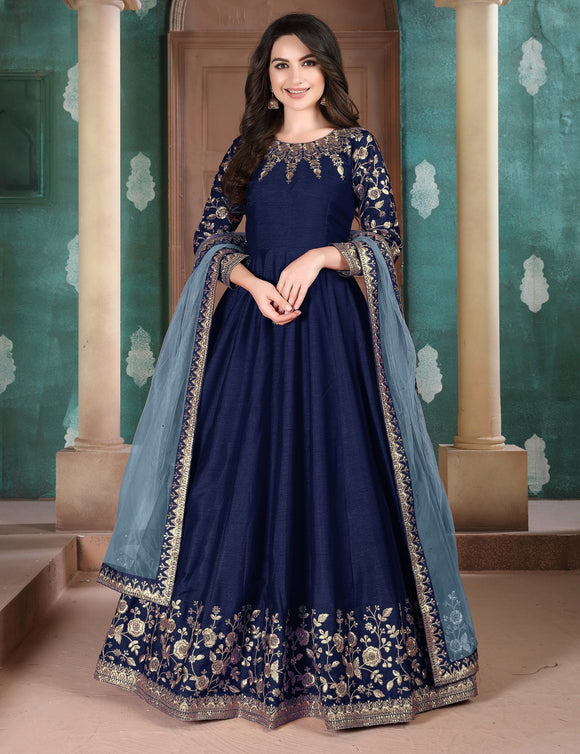 Dark Blue Zari Embroidered Stones Work Slub Silk Anarkali Suit (Semi-Stitched) - Raspberry Blush