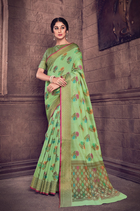 Light Green Woven Handloom Cotton Saree & Unstitched Blouse - Raspberry Blush