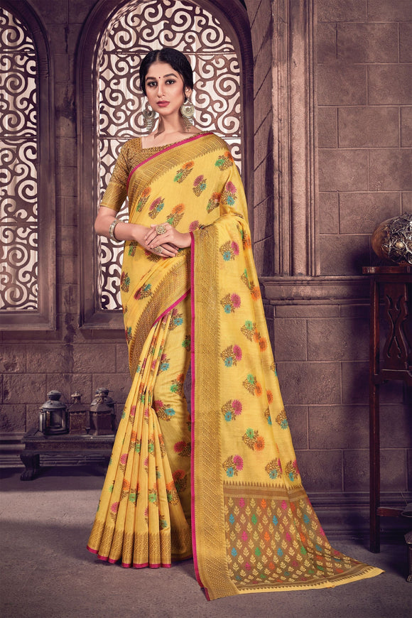 Yellow Woven Handloom Cotton Saree & Unstitched Blouse - Raspberry Blush