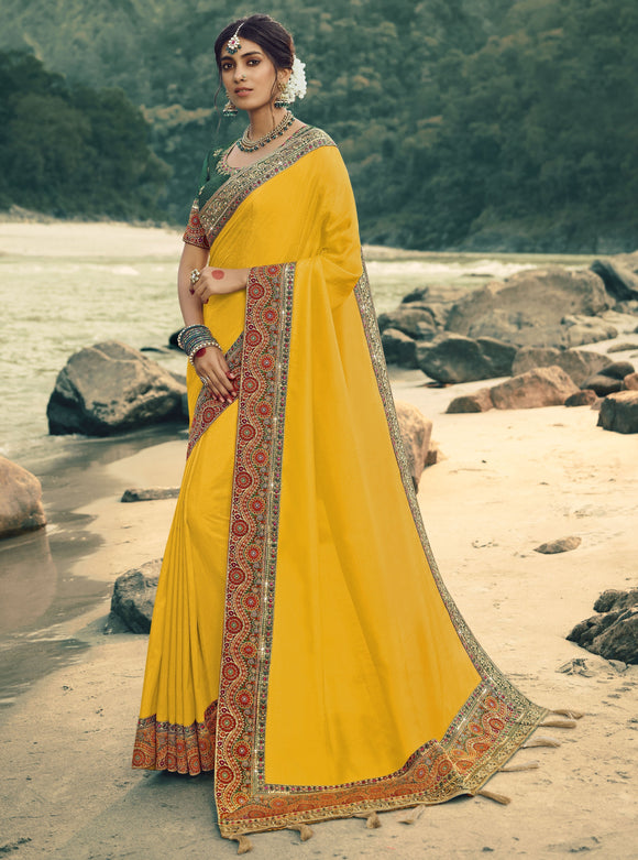 Yellow Thread Embroidered Stones Work Vichitra Silk Jacquard Silk Saree & Unstitched Blouse - Raspberry Blush