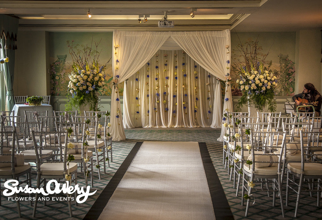 A large floral backdrop at the Langham Hotel in Sydney