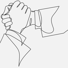 Two hands clasping