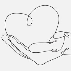 Line drawing of a hand holding a heart