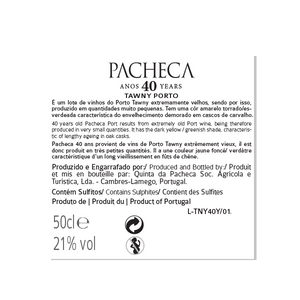 Pacheca Port Tawny 40 Years 50cl - Quinta da Pacheca - Douro Valley