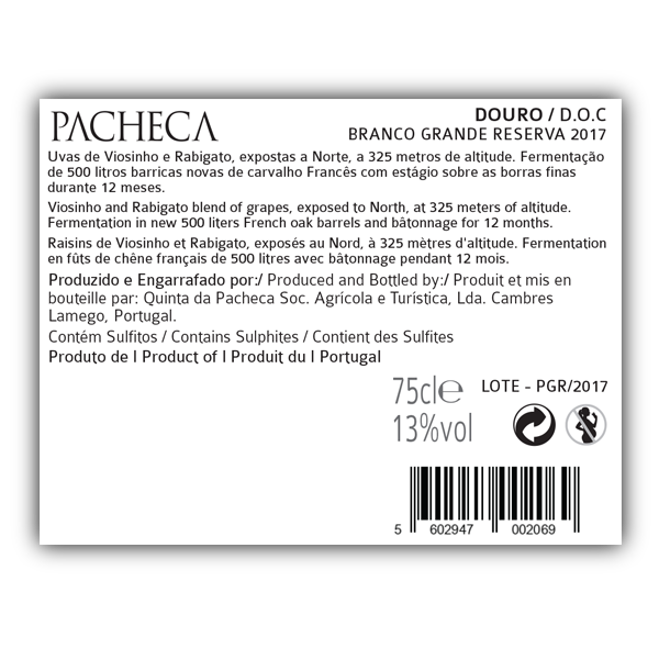 PACHECA BRANCO GRANDE RESERVA 2018 (6x BOTTLES PACK - WITH FREE DELIVERY) - Quinta da Pacheca - Douro Valley