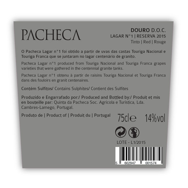 PACHECA LAGAR Nº 1  RESERVA 2016  - (6x BOTTLES PACK - WITH FREE DELIVERY) - Quinta da Pacheca - Douro Valley