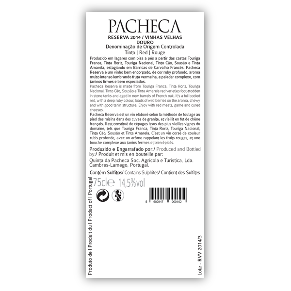 Pacheca Reserva Vinhas Velhas Red 2016 Douro (12X BOTTLES PACK - WITH FREE DELIVERY) - Quinta da Pacheca - Douro Valley