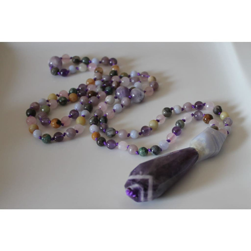 108 Bead Genuine Gemstone MALA / ANXIETY RELIEF / Yoga Jewelry / Meditation Prayer Beads - Necklaces