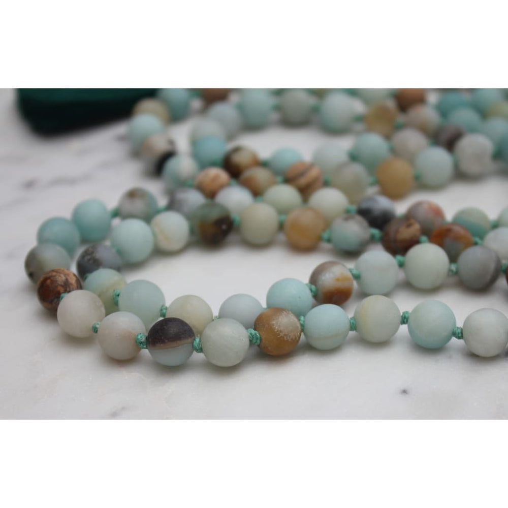 108 Bead Matte Amazonite Mala / Yoga Jewelry / Meditation Prayer Beads - Necklaces