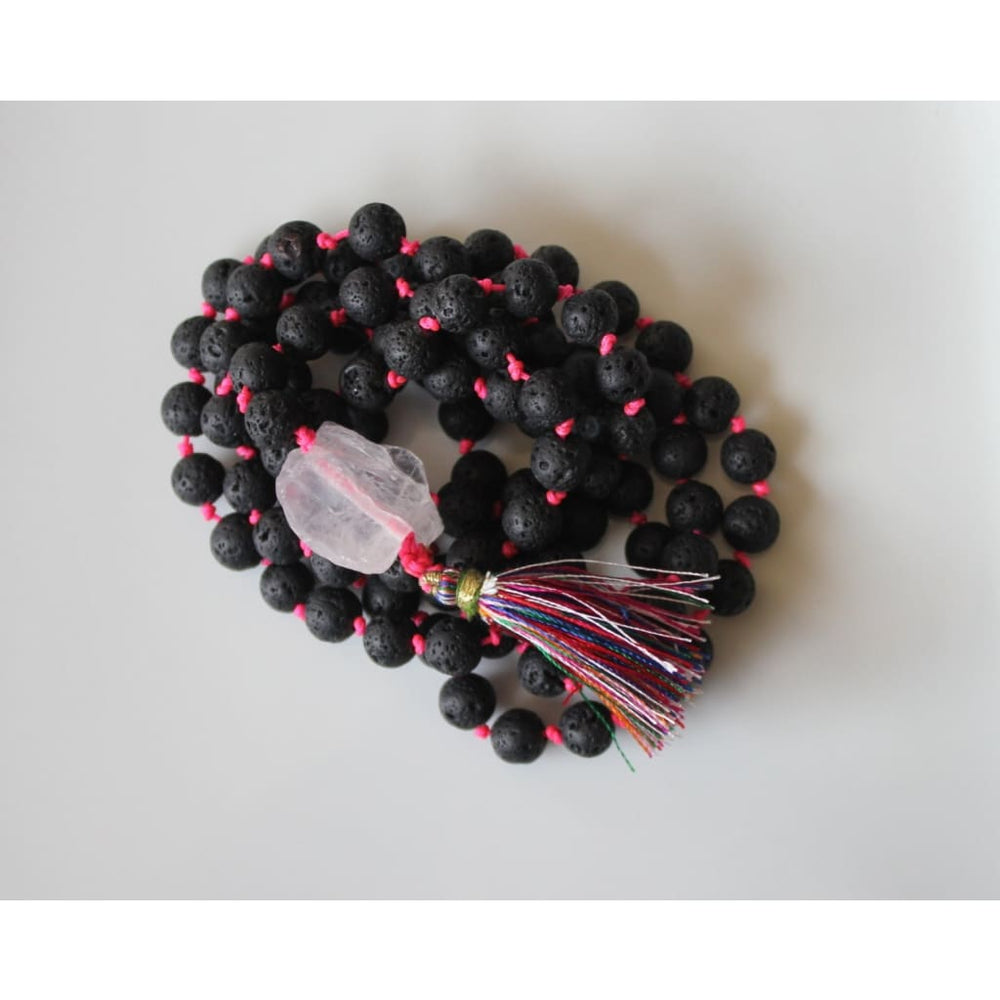 108 Natural Black Lava Bead on Hot Pink Cord with raw quartz guru MALA / Yoga Jewelry / Meditation Prayer Beads - Necklaces