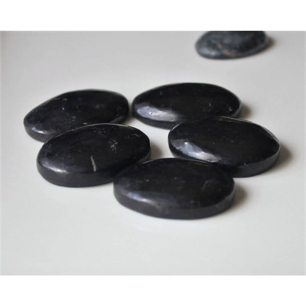 Black Tourmaline Worry Stone Pocket Tranquilizer Protection Stone - Energy Tools