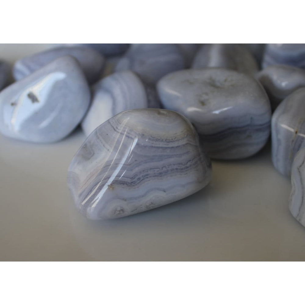 BLUE LACE AGATE Tumbled Stones / Gentle and Calming / Protection from the Angels / Improve Communication - Polished Stones