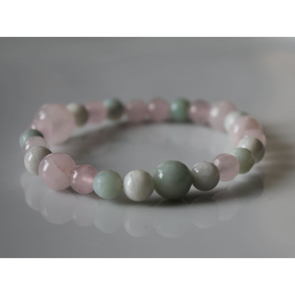 CALMING Healthy Pregnancy Healing Crystal Bracelet - Rose Quartz / Amazonite / Moonstone - Bracelets