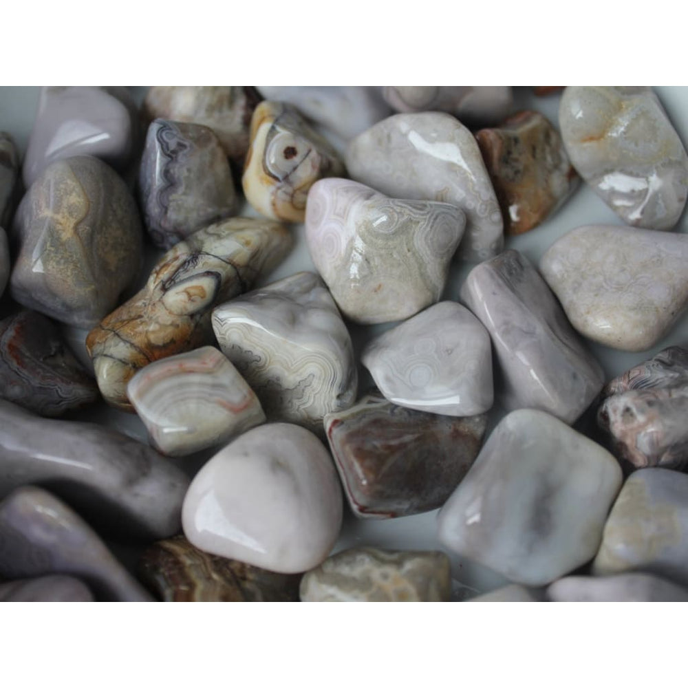 Crazy Lace Agate Tumbled Stones / Known as Happy Lace / Improve confidence / Self-Esteem - Polished Stones