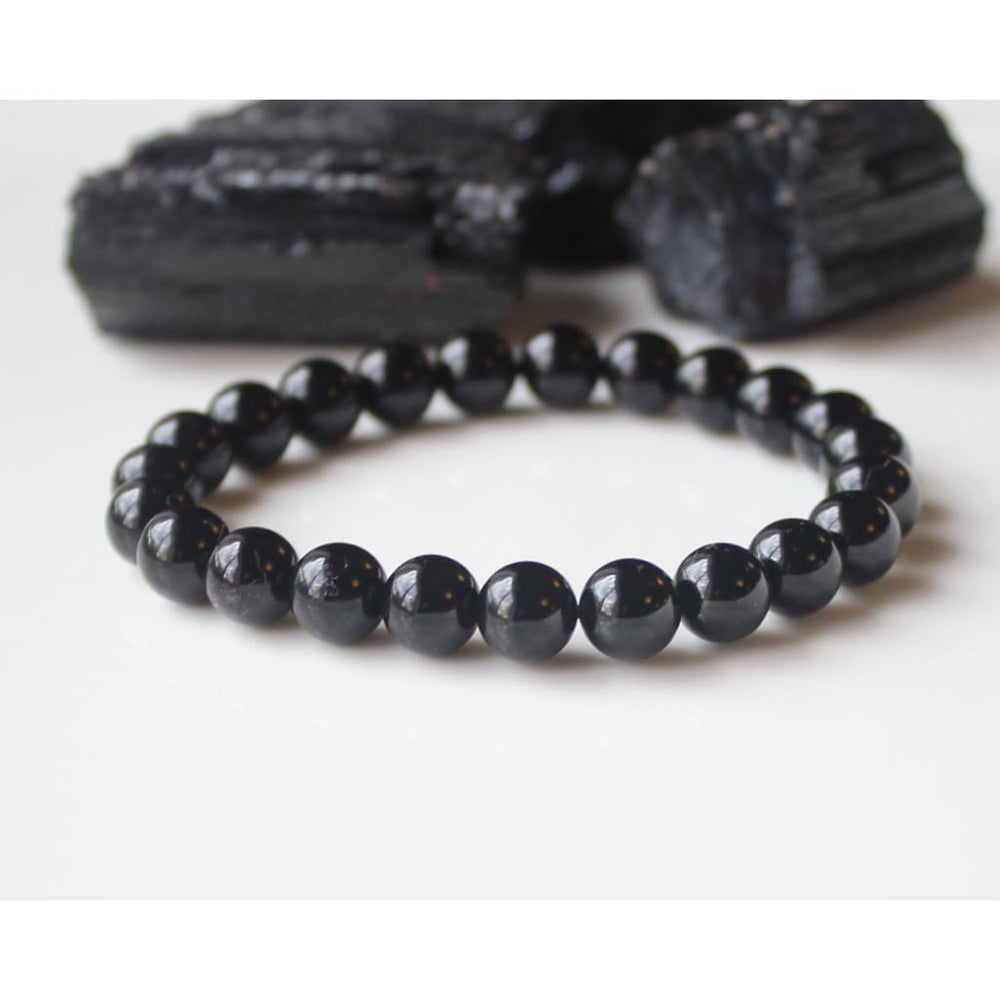 CRYSTAL PROTECTION BRACELET / Black Tourmaline Healing Crystal Bracelet / Stackable Bracelet on Stretch Cord / Protection / Grounding -