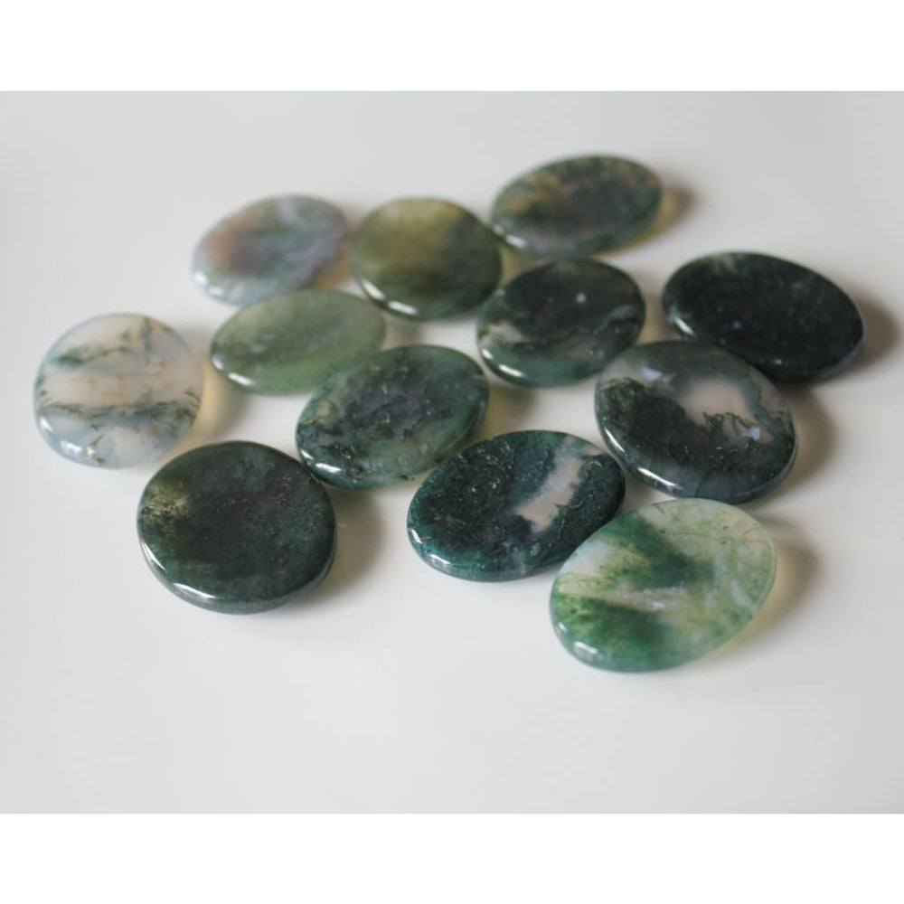 Green Moss Agate Worry Stone / Pocket Tranquilizer / Balance emotional energies / Endurance / Abundance - Energy Tools