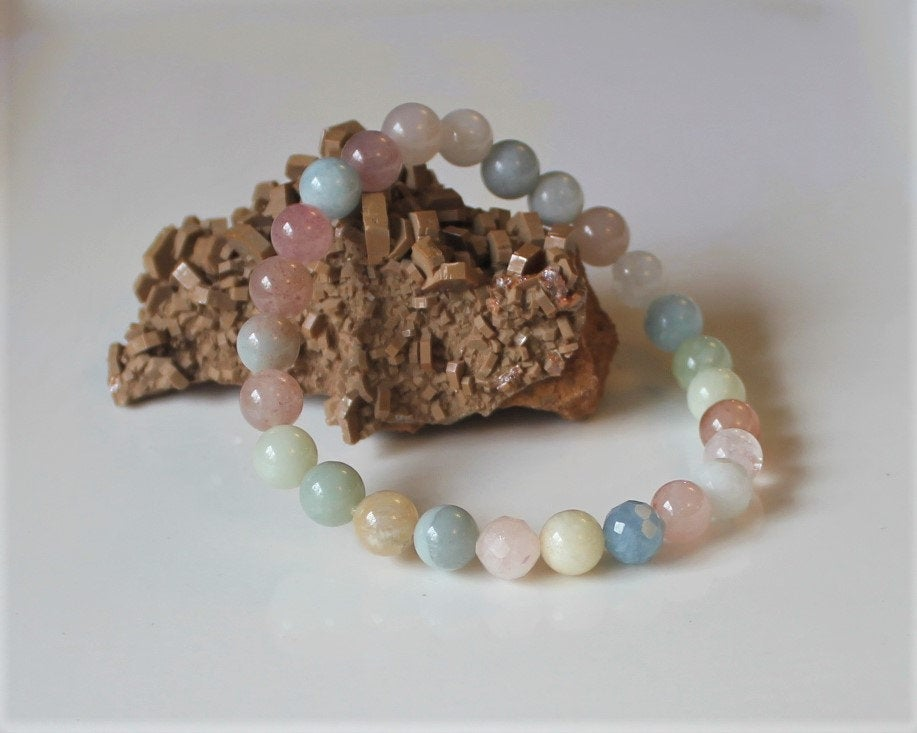 Stress Release Healing Crystal Bracelet, Genuine Gemstone Bracelet, Pastel Jewelry, Beryl Bracelet, Strawberry Quartz