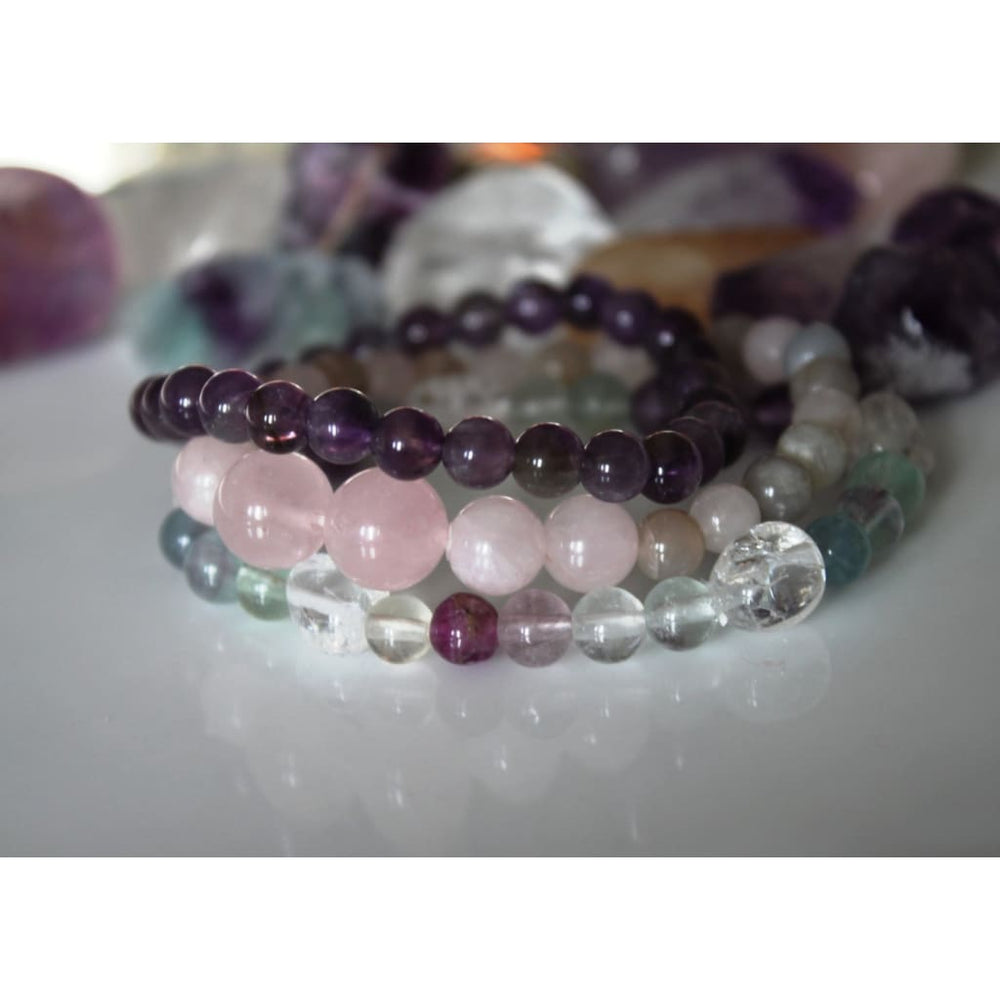 POSTPARTUM SUPPORT / Stack Healing Crystal Stretch Bracelets / Gift for New Moms / Support for Postpartum Depression and Emotional Balance -