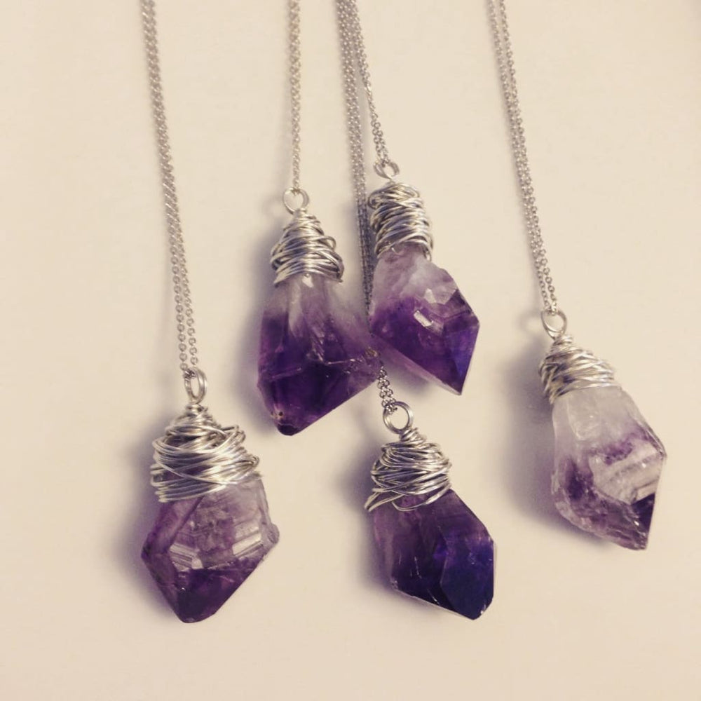 RAW AMETHYST POINT Wire Wrapped Healing Gemstone Necklace - Necklaces