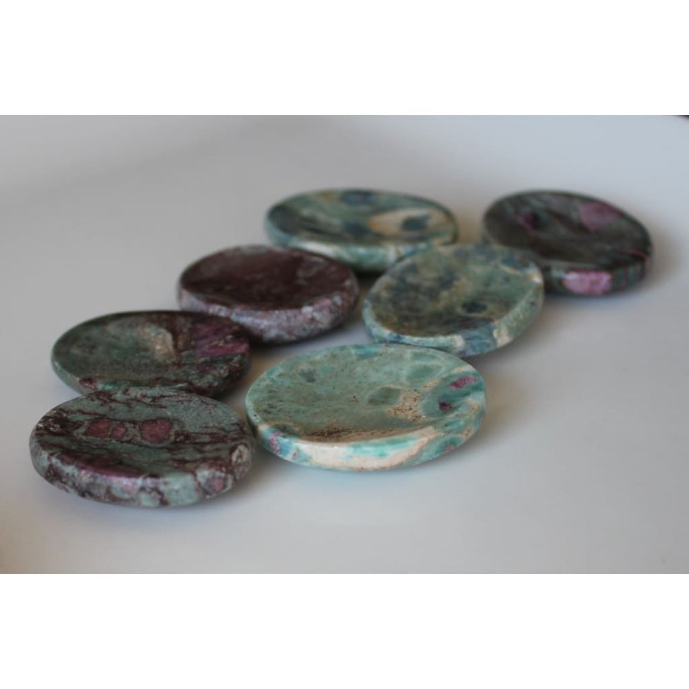 RUBY ZOISITE Worry Stone / Reflexology Pocket Tranquilizer / Transmute Negativity / Increase life force - Energy Tools