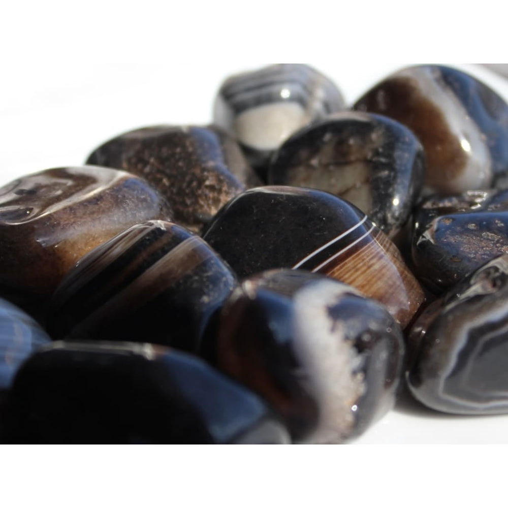 Tumbled Black Agate / Earth Star and Base Chakra / Protection / Stabilize aura / Earth Star Chakra / Base Chakra - Polished Stones