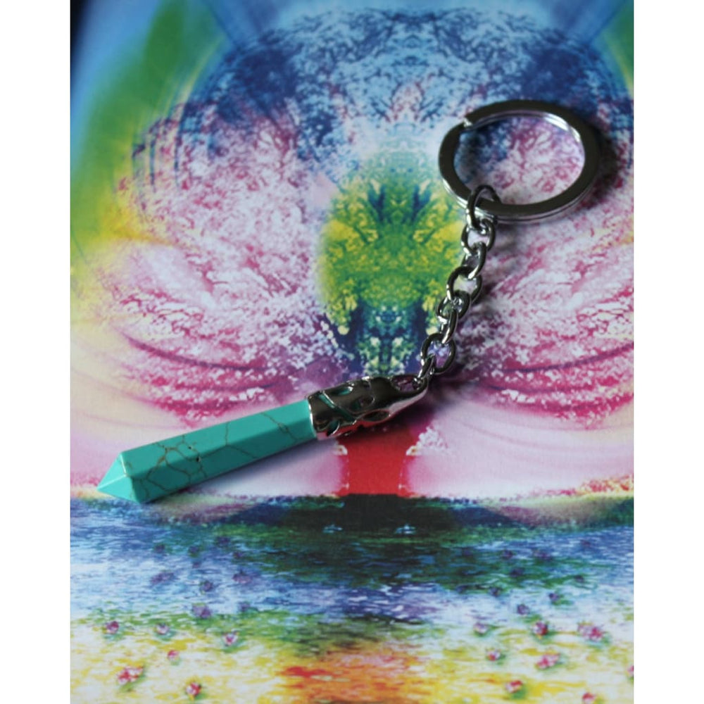 TURQUOISE HOWLITE Faceted Healing Crystal Keychain / Enhance Meditation / Calms chaotic emotions - Keychains