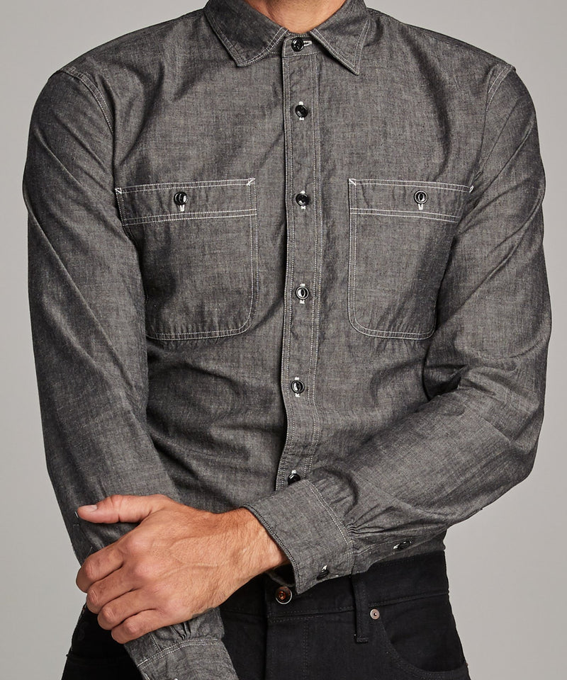 Japanese Black Chambray Work Shirt