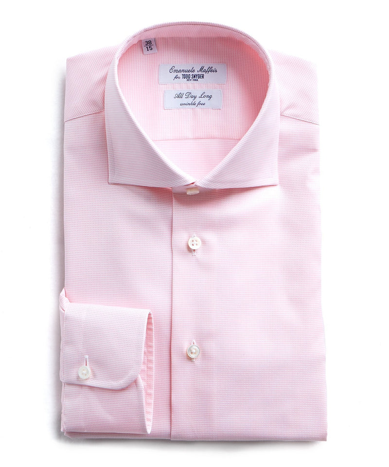 Maffeis No Wrinkle Dress Shirt Pink Nailhead Solid