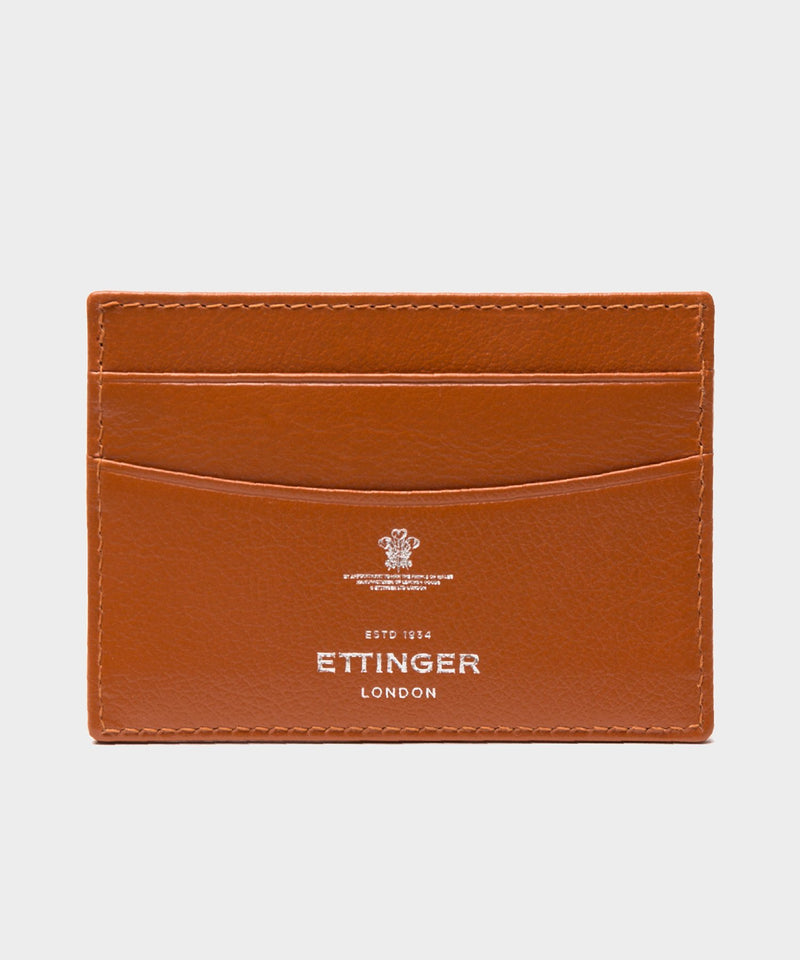 Ettinger Capra Flat Credit Card Case in Tan