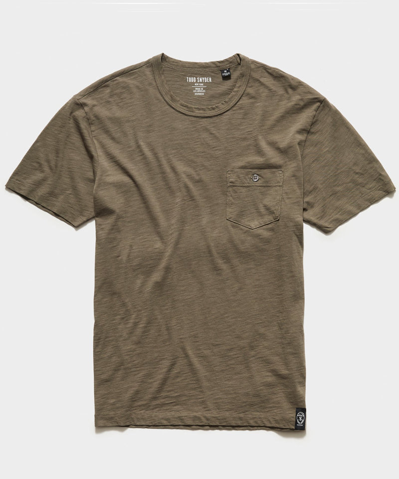 Made in L.A. Homespun Slub Pocket T-Shirt in Olive