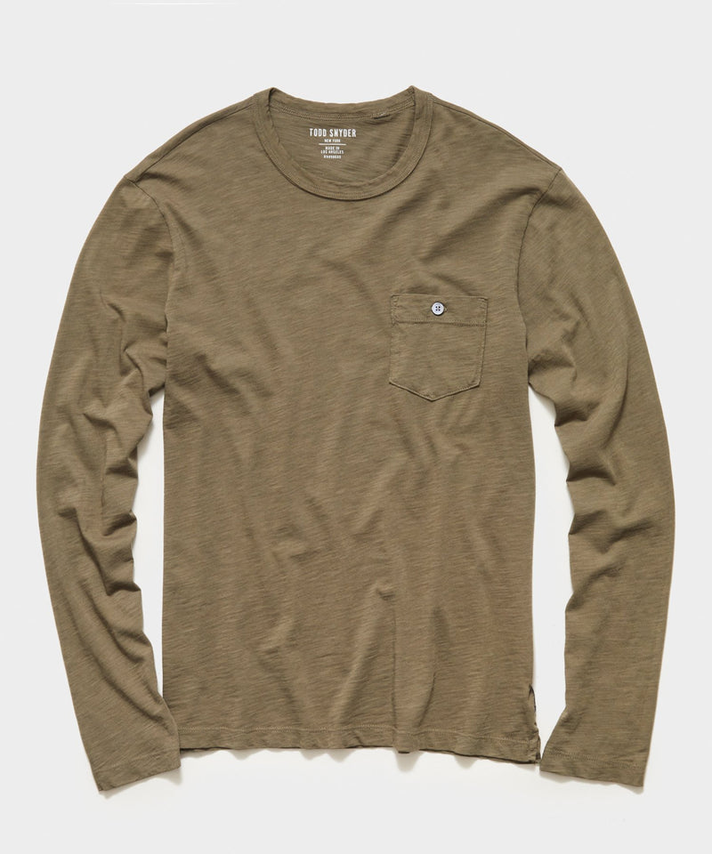 Made in L.A. Homespun Slub Long Sleeve T-Shirt in Olive