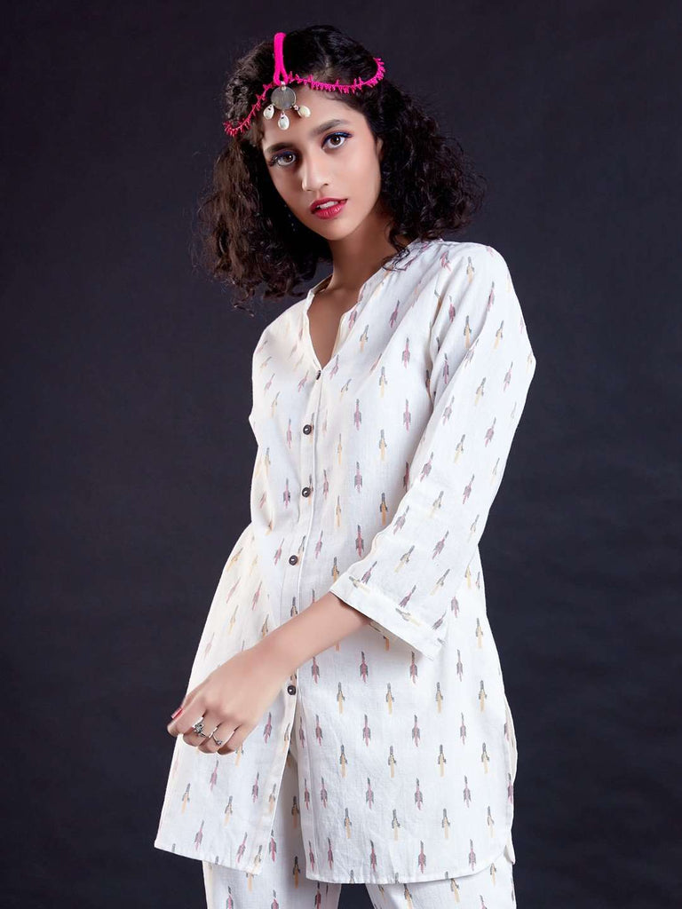 Front Side White Ikkat Printed Cotton Tunic