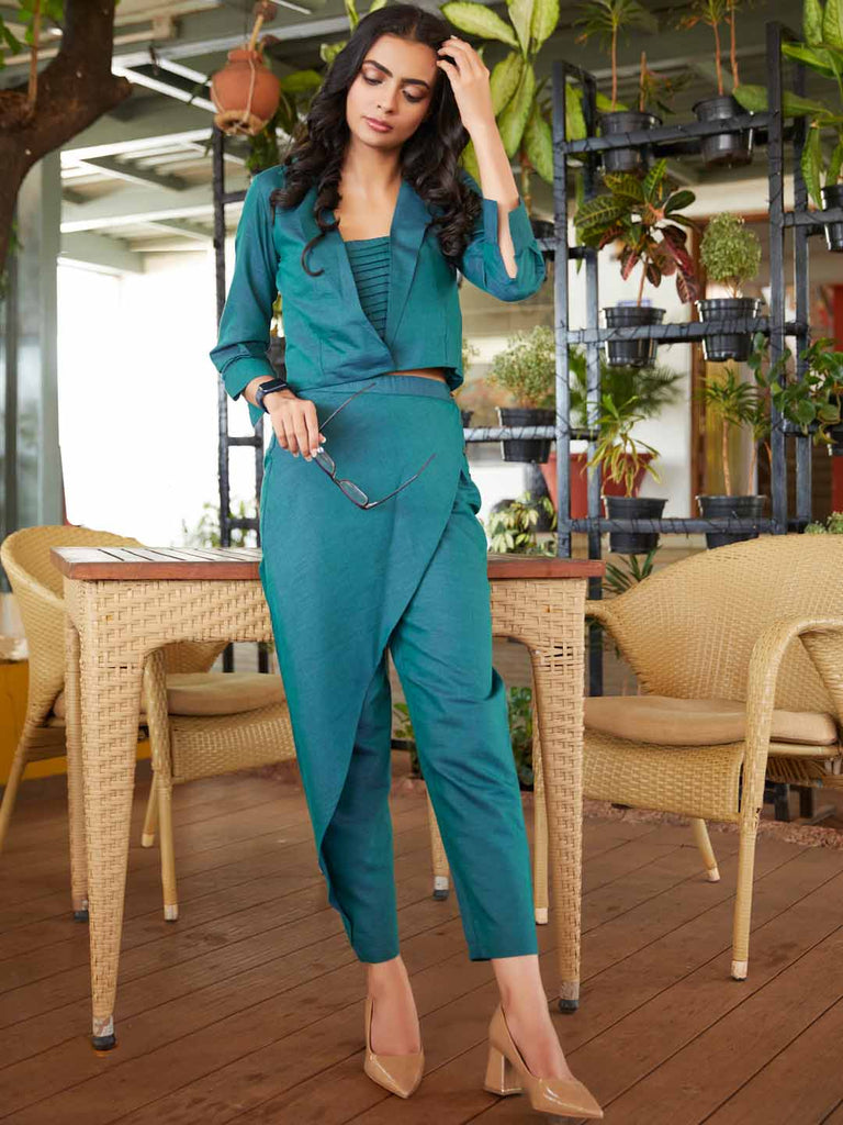 Party Wear Teal Woven Straight Crop Top With Pant