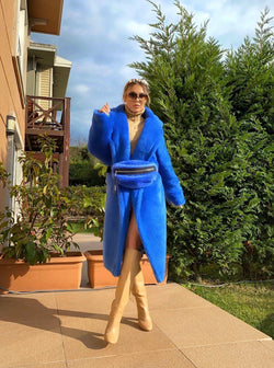 Jasmine Blue Faux Fur Coat