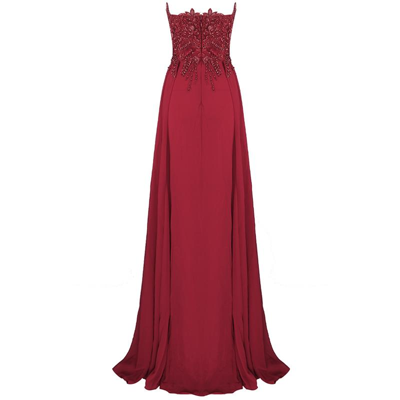 Ruby Red Beaded Maxi Dress