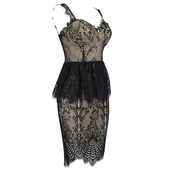 Alice Black Lace Midi Dress