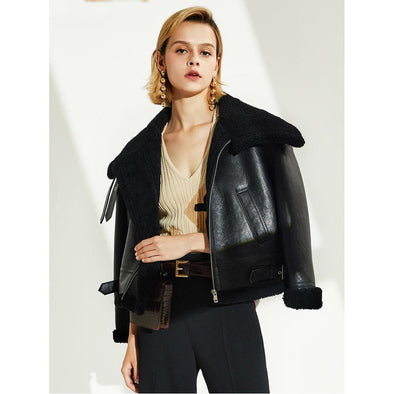 Alma Leather & Sheepskin Crop Jacket